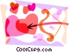 Cupid's bow and arrow with hearts Vector Clipart picture