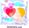 Cupid with hearts Vector Clip Art picture