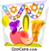 Star of David with corn, lemon, wheat and apples Vector Clip Art picture