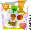 Star of David with apple, nuts, lettuce Vector Clipart image