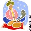 Vector Clipart graphic  of a Snake Charmers