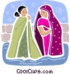 India women in traditional dress Vector Clipart graphic