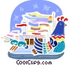 Chinese boat with year of the Chicken design Vector Clipart illustration