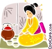 Japanese geisha girl with cooking pot Vector Clipart image