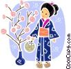 Japanese geisha girl watering plants Vector Clipart graphic
