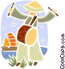 Japanese person playing drum Vector Clip Art image