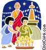Chinese family with candles Vector Clip Art image