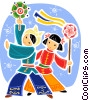 Chinese children in traditional dress Vector Clip Art graphic