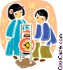 Japanese children Vector Clip Art graphic