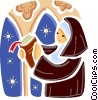 Nun with bible in church Vector Clip Art picture