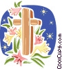 The Cross with flowers Vector Clipart image