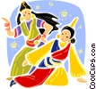 Indian women in traditional dress dancing Vector Clipart picture