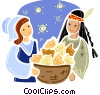 American Indian with pioneer and baked goods Vector Clipart illustration