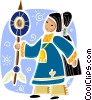 American Indian woman in traditional dress Vector Clipart picture