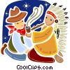American Indian and cowboy smoking piece pipe Vector Clip Art picture