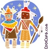 American Indians in traditional dress Vector Clipart illustration