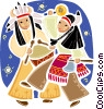 American Indians in traditional dress dancing Vector Clip Art picture