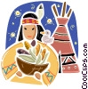 American Indian with bowl of corn and tee pee Vector Clipart graphic