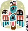 American Indian totem pole Vector Clipart image