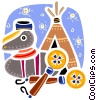 American Indian symbols with tee pee Vector Clip Art image