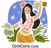 Hawaiian Hula dancer Vector Clipart illustration