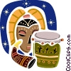 African Drum with horn and mask Vector Clipart illustration