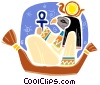 Egyptian People in mask riding in boat Vector Clipart picture