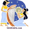 Egyptian women playing the harp and tambourine Vector Clipart illustration