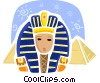 Chephren and pyramids Vector Clipart illustration