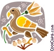 Falcon with flower in his talons Vector Clipart graphic