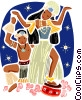 Exotic island couple performing traditional dance Vector Clipart picture