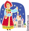 Traditional Russian costume Vector Clip Art graphic