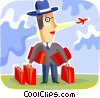 Passenger with luggage at the airport Vector Clip Art graphic
