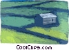 Vector Clip Art image  of a Farm with fields