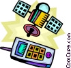 Vector Clip Art image  of a Cellular Wireless and Cordless Phones