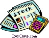 Stock Market paper section and calculator Vector Clip Art picture