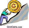 Man rolling coin up hill Vector Clipart graphic