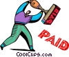 Man with paid Rubber Stamp Vector Clipart picture