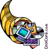 Cornucopia with diskettes, cds, and computer monitor Vector Clipart image