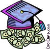 Educational Concepts Graduation cap with cash Vector Clipart illustration