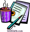 Cup of coffee with notepads and pen Vector Clipart picture