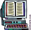 Computer Desktop Systems with book in the monitor Vector Clip Art image