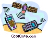Cellular Phones with satellite Vector Clipart illustration