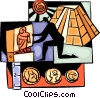 Archeologist with pyramids, coins and paintings Vector Clipart illustration