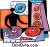 Disk jockey spinning his records Vector Clipart image