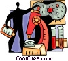 Scientists and Researchers with microscope and virus Vector Clip Art picture