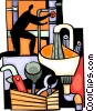 Plumber with his tools fixing a leak Vector Clipart illustration