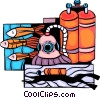 Scuba Diver with tanks and fish Vector Clipart graphic