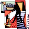 Vector Clipart graphic  of a vacuum and cleaners tidying up