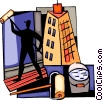 Person painting apartment Vector Clipart picture
